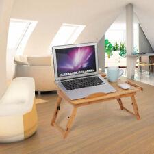 Lit de Bambou Table Portable Bureau d'Ordinateur Portable Réglable Plateau