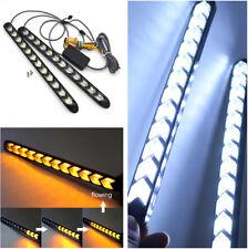 2x Car White/Amber Flowing LED Knight Strip Light Arrow Flasher DRL Turn Signal