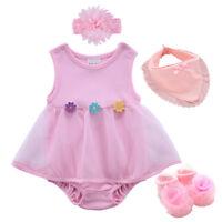 baby girls summer bodysuit+headband+socks+ bib baby shower gift photo props