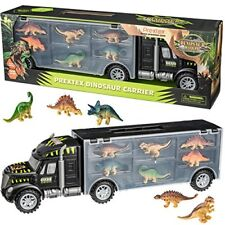 Prextex 16� Tractor Trailer Dinosaur Carrier with 6 Mini Plastic Dinosaurs