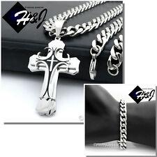 "20""Stainless Steel 9x4mm Silver Cuban Curb Necklace Bracelet Cross Pendant*H2"
