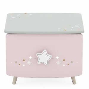 LASTMEUBLES Stella Star Kids Bedside Table 1 Drawer, Wood Grey Pink