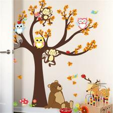 Wall Stickers Cartoon Forest Animal Monkey Tree Owl Baby Kid Room Decal Funny