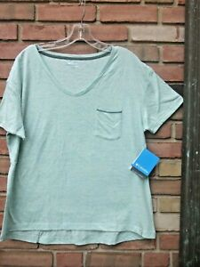 Columbia The Adera Collection Large New w/Tag Green Top SS w/Pocket V Neck Comfy