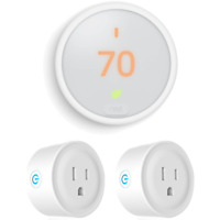 Google Nest Thermostat E (White) T4000ES with 2 Pack Wi-Fi Smart Plug