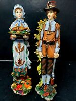 Pair of Lenox Pilgrims Spirit Statues Lady With Turkey Pilgrim Man with Rifle