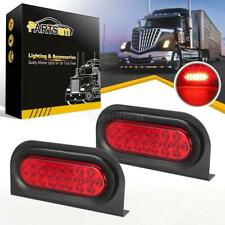 "2x6"" Oval Stop/Turn/Tail Red 24LED Truck Trailer Brake Lights w/Mounting Bracket"
