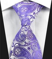 Mens Tie Lilac Purple Floral Paisley Silver Silk Wedding 616