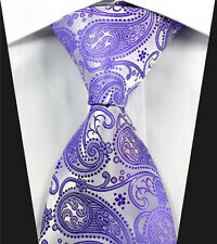 Mens Tie in Satin Lilac Purple Wedding Floral Paisley  Paisley Silk Gift
