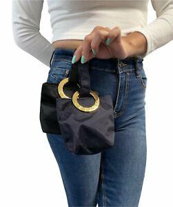 CELINE Vintage Big Circle Logo Micro Bag Mini Pouch Navy Dark Blue Gold