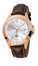 Ferre Milano Men's FM1G080L0031 Rose-Gold IP Brown Leather Date Wristwatch