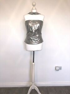 VERSACE JEANS COUTURE VINTAGE SILVER METALLIC STRAPLESS TOP LARGE L 90s UK 12-14