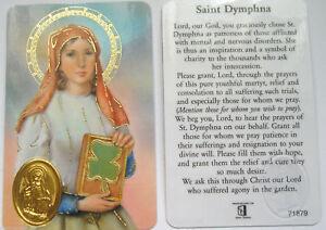 SAINT ST DYMPHNA LAMINATED PRAYER CARD - WALLET SIZE