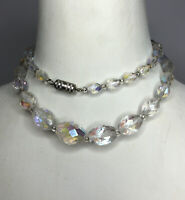 1950s Crystal Necklace Aurora Borealis Glass Screw Clasp Jewellery Jewelry Retro