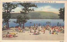 Postcard Bathing Beach Hearthstone Public Camp Lake George Ny