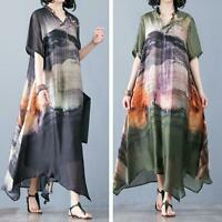 Summer Women Silk Real Floral Maxi Loose Dresses Robes Ethnic V Neck Long Kaftan