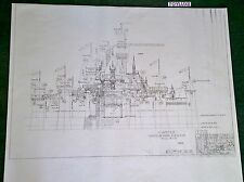 Disneyland FANTASY CASTLE Disney Blue Print !! Front 41 x 29 Black & White Copy