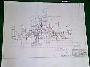 Disneyland FANTASY CASTLE Disney Blue Print !! Front 41 x 29 Black & White Copy