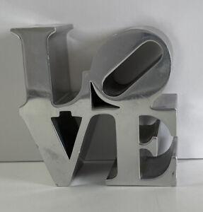Robert Indiana LOVE Polished Aluminum Sculpture Paperweight Pop Art