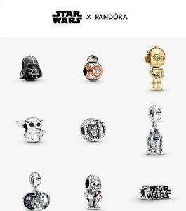 New Genuine Pandora Silver Sterling Star wars Charm Collection ALE 925 + Free Gi