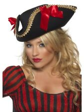 FEVER PIRATE HAT LADIES FANCY DRESS ACCESSORY PIRATES HAT BLACK DELUXE