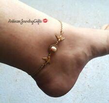 Gold Sparrows Pearl Anklet Birds Ankle Bracelet