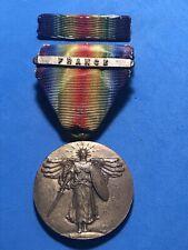 WW1 U.S. VICTORY MEDAL FRANCE CLASP BAR FULL WRAP BROOCH A.E.F. WORLD WAR I