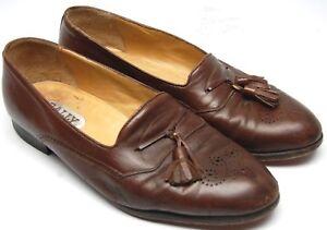 Bally Garret Mens Loafers 10 D Brown Leather Medallion Toe Tassel Slip On Italy
