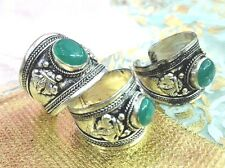 Old Tibet Silver Green Jade Bead Ring adjustable size One pieces