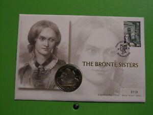 MERCURY COIN COVER GIBRALTAR CROWN THE BRONTE SISTERS .. SEE POSTAGE OFFER