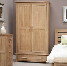 Eton solid oak modern furniture double bedroom wardrobe with drawer