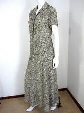 KATHERINE KELLY COLLECTION 100% SILK 2PC SKIRT AND BLOUSE SIZE 8 BLACK WHITE