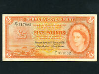 Bermuda:P-21d,5 Pounds,1966 * Queen Elizabeth * VF *