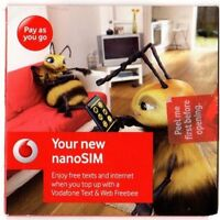 Vodafone Pay As You Go Nano SIM Card For Apple iPhone 5 & 5S & 5C GET MINS &DATA