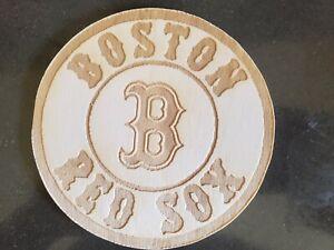 BOSTON RED SOX w/ B  LOGO -- Laser Engraved Wood  4 1/4 around