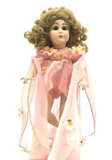 """Reproduction Antique German Simon Halbig 117 Doll 13"""" Signed Angela 1986 Stand"""