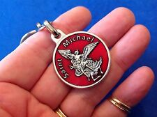 ARCHANGEL St MICHAEL RED ENAMEL Saint Medal KEY CHAIN, KEY RING Prayer