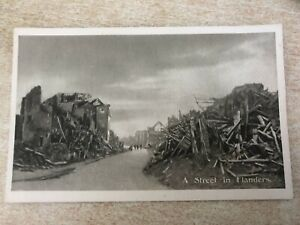 A Street in Flanders, Belgium French Red Cross Printed Photo Postcard WW1 1916