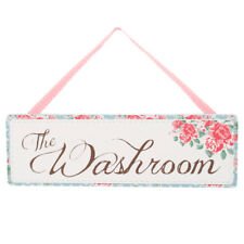 Bathroom ' The Washroom ' Posies Floral Flowers Wooden Wall Hanging Plaque