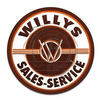 "Nostalgic Willys Overland Service Aluminum Tin Metal 12/"" Round Sign"