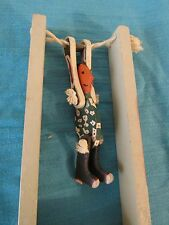 Vtg Wood Acrobat String Squeeze Flip Jumping Jack Toy Native American Cowboy