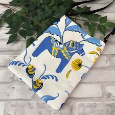 Swedish Dala Horse Blue n White Dalahäst Kurbits Cross Body Shoulder Bag Purse