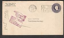 1950 postal cover Charleston WV to Garrison NY/return-moved left no address