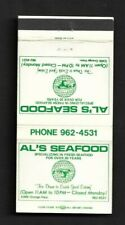 Matchbook Cover Al's Seafood Fresh Seafood For Over 20 Years *2693