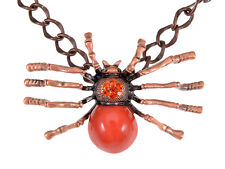 Large Red Orange Spider Queen Rusty Brass Tone Chain Crystal Rhinestone Necklace