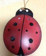 "2 1/4x3"" Tin Lady Bug Reversible Metal Painted Both Sides Hanging Ornament Sign"