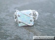 Sterling Silver White Fire Man-Made Opal Square Cabochon Ring