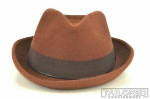 NEW - JAY KOS Solid Brown Felt Fedora Inspector Hat - LARGE / EU 59 / US 7 3/8