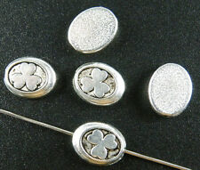 80pcs Tibetan Silver Leaves Pattern Oval Spacers 12x10x3.5mm