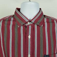 Faconnable Club Deauville Red Black White Striped Mens Dress Button Shirt Sz XL
